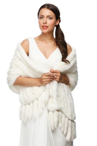 Свадебный палантин из натурального меха кролика 836 - Палантин из