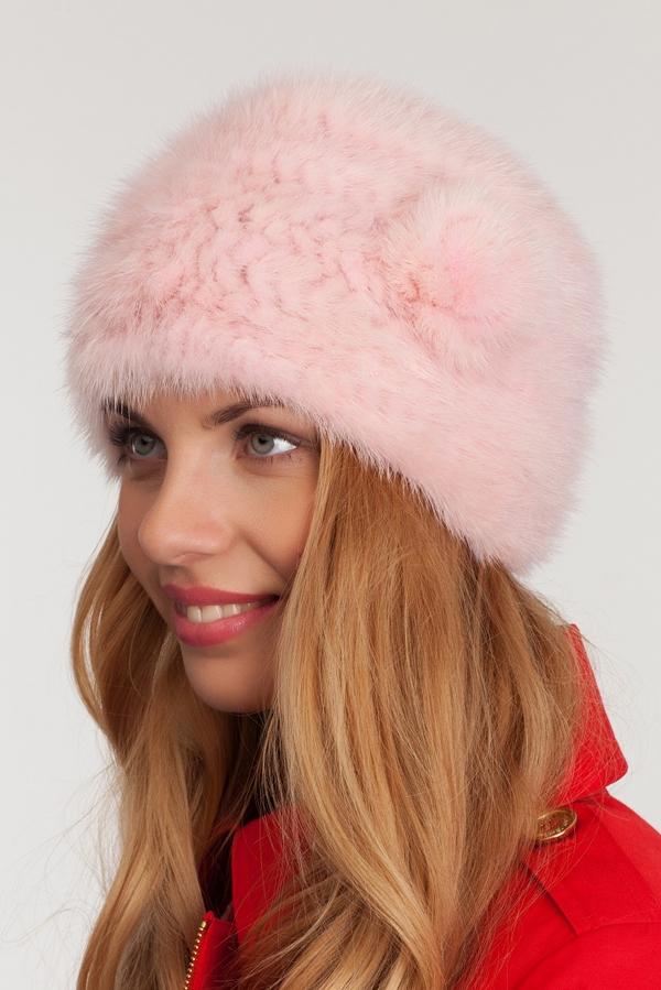 Шапка из вязаной норки розовая 953 - Меховые Шапки ...