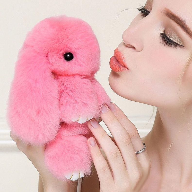 """Меховой брелок """"Зайка"""" из натурального меха кролика нежно-розовый. 1058 - МЕХОВЫЕ ИГРУШКИ - Интернет-магазин """"Пушистый"""""""