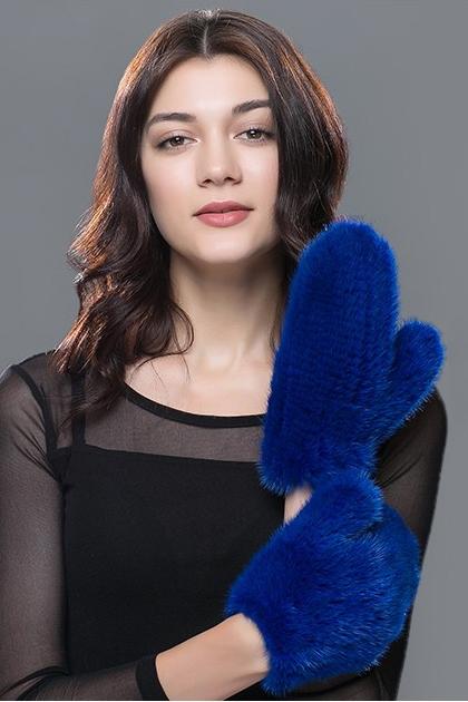 варежки из вязаной норки синие 1077 варежки и митенки интернет