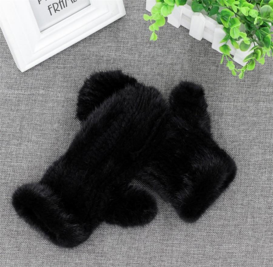 варежки черные из вязаной норки 1077 варежки и митенки